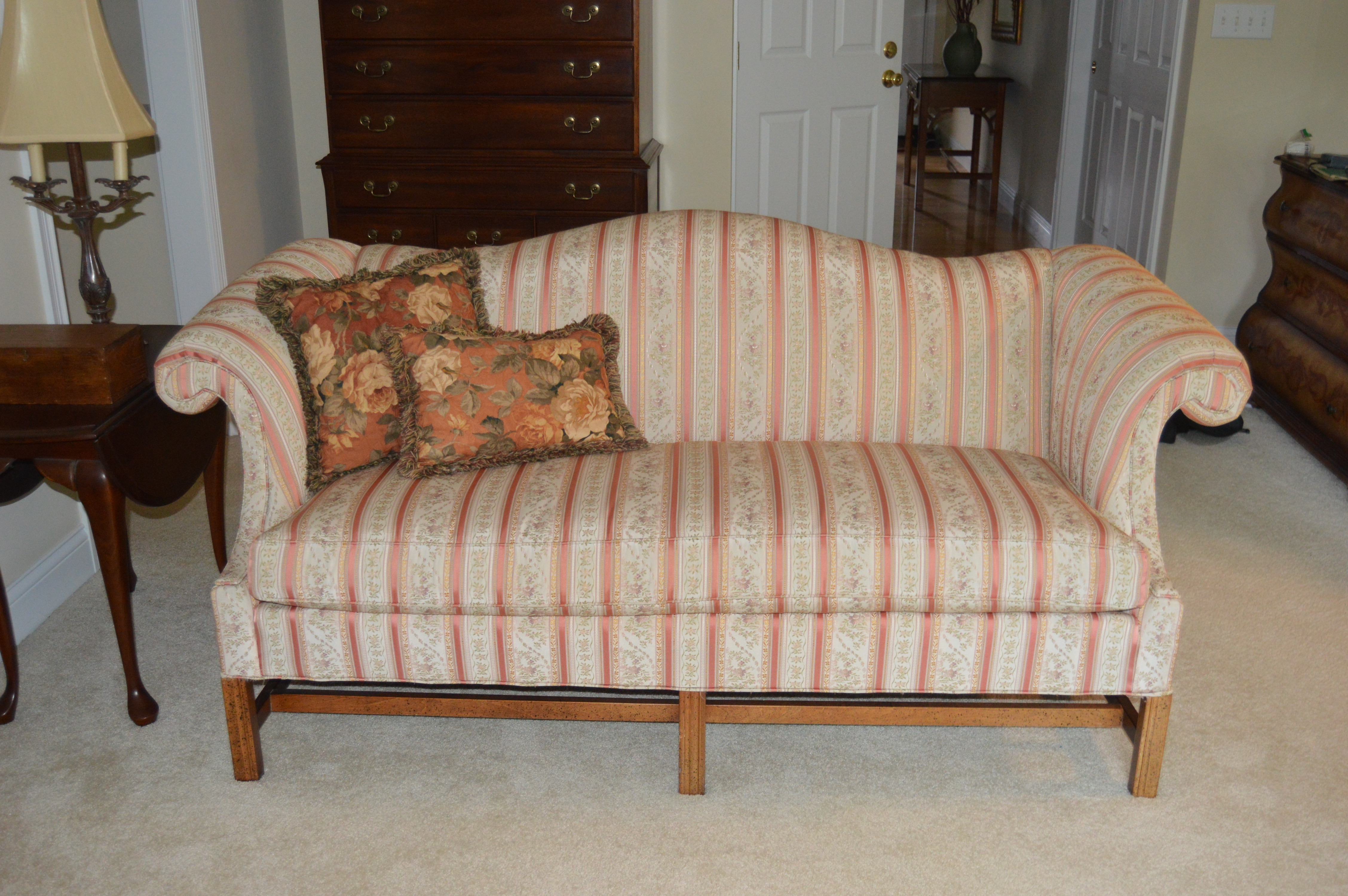 hickory fry sofa baja convert a couch and bed reviews chippendale style camelback by furniture