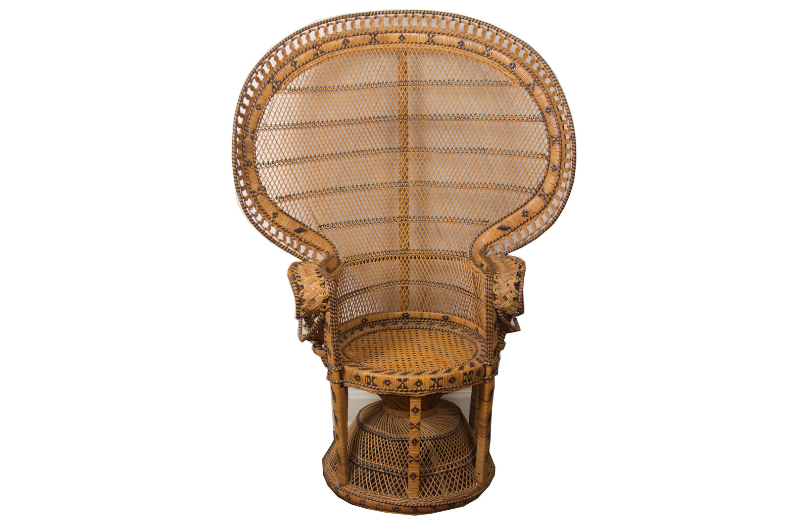 vintage peacock chair faux leather dining room chairs wicker circa 1970s ebth