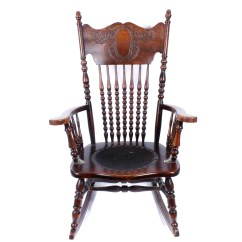 Solid Oak Pressed Back Chairs Music Studio Chair Antique Rocking With Leather Seat Ebth
