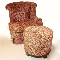 Hickory White Leopard Print Swivel Chair + Ottoman : EBTH