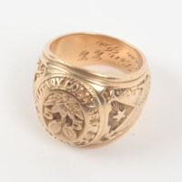 Vintage 10K Yellow Gold Military College Class Ring