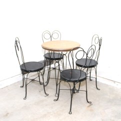 Ice Cream Table And Chairs Diy Outside Chair Cushions Antique Oak Wrought Iron Ebth