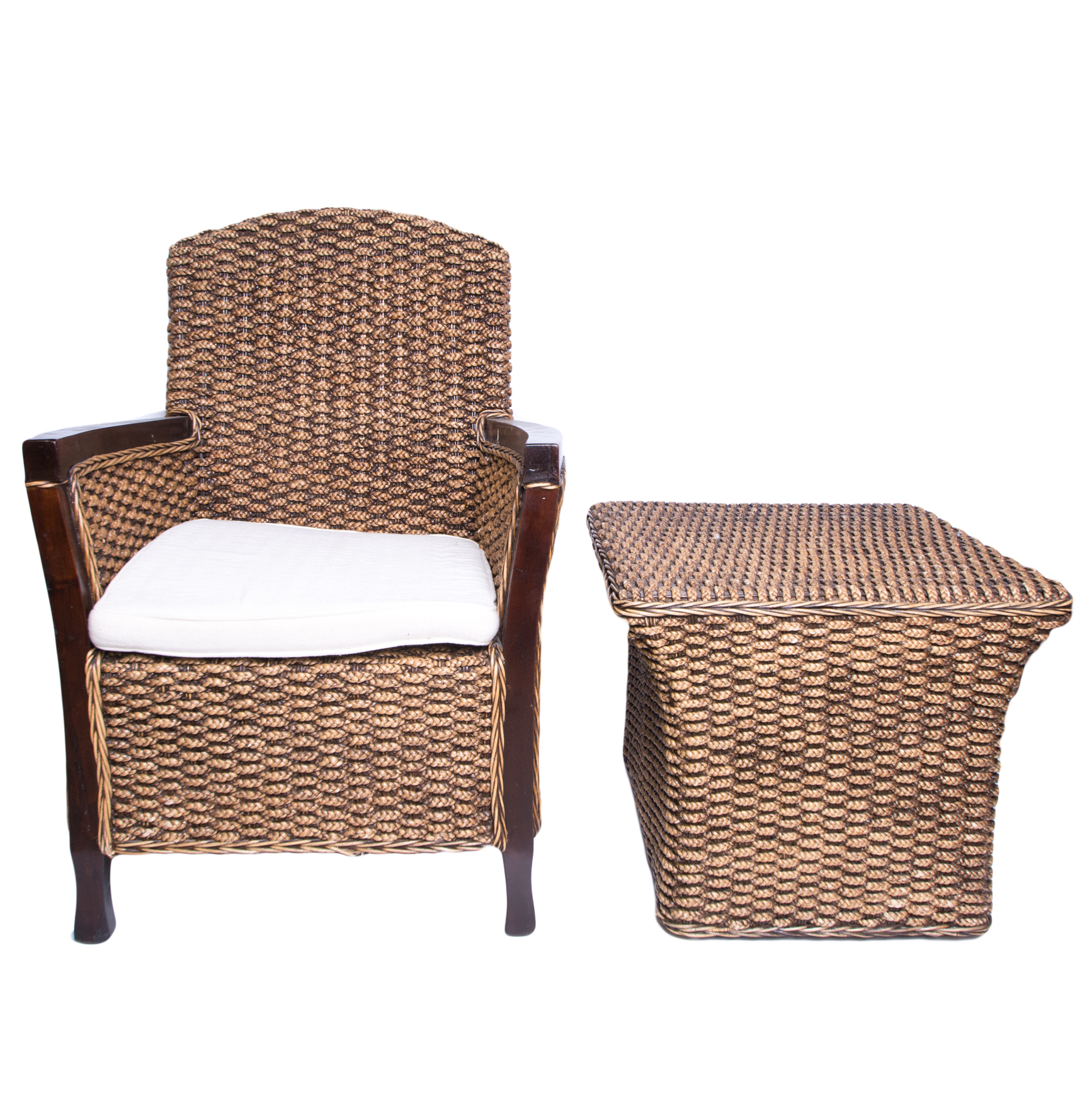 seagrass arm chair rustic table and set woven armchair ottoman ebth