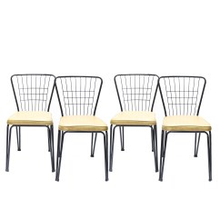 Mid Century Modern Wire Chair Cost Plus World Market Chairs Set Of Four Kitchen By Daystrom Ebth
