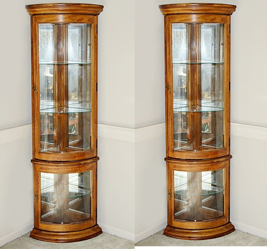 Pair of Lighted Curved Glass Corner Display Cabinets  EBTH