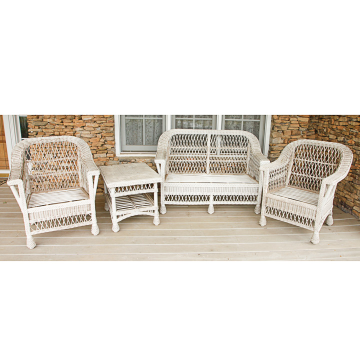 Vintage White Wicker Patio Furniture Set Ebth