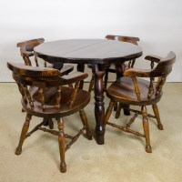 Vintage Pine Table with Leaf Inserts and Captains Chairs ...