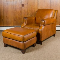 Bassett Furniture Leather Armchair and Ottoman : EBTH