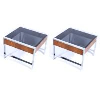 Mid Century Modern Chrome, Glass and Wood End Tables : EBTH