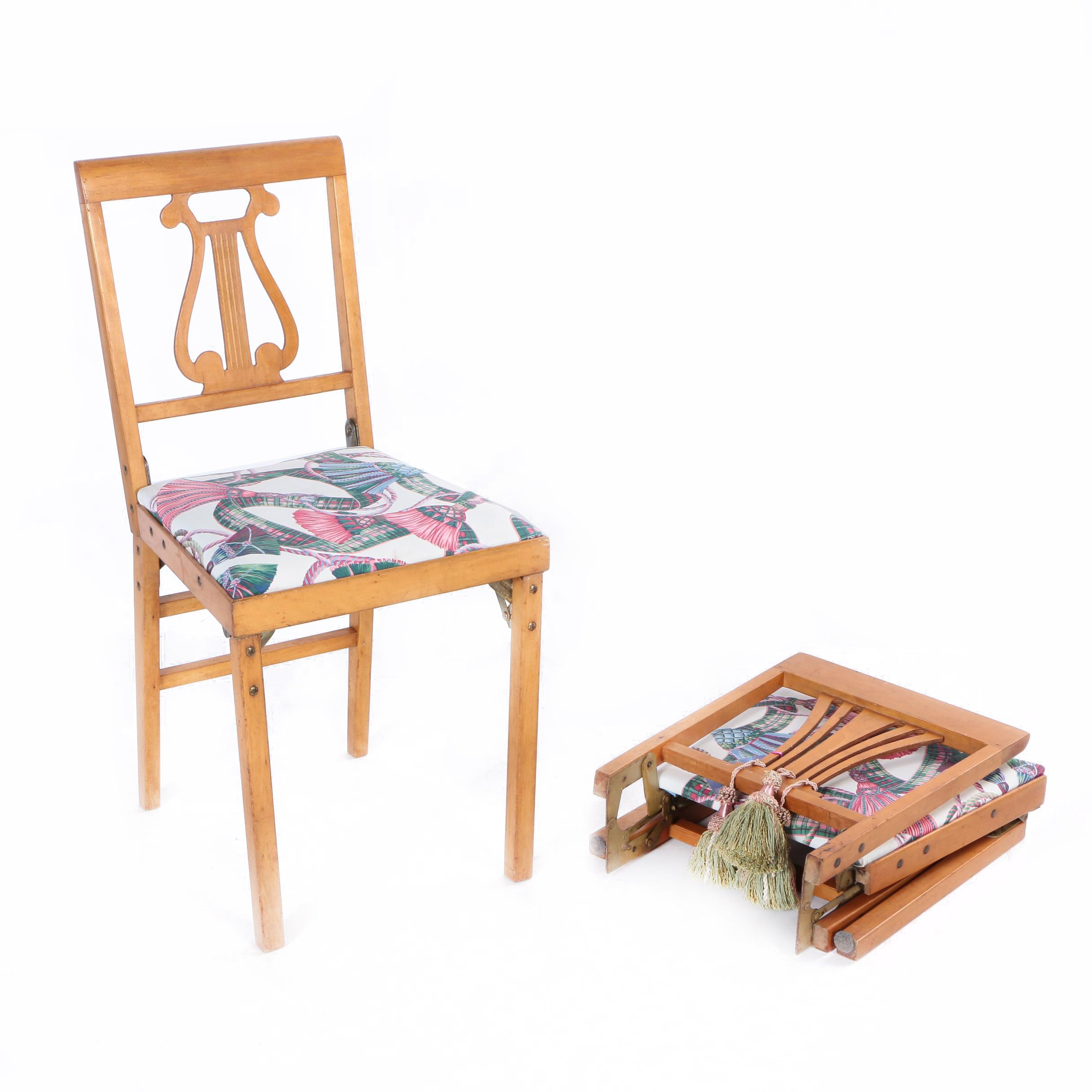folding chair legs lee industries chairs swivel pair of vintage lyre back leg o matic by lorraine ebth