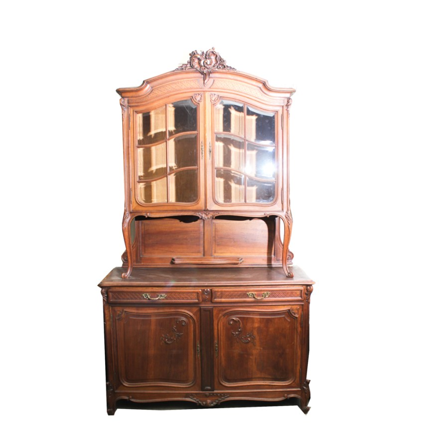 Antique French Country Solid Wood China Cabinet  EBTH