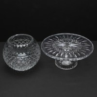 """Waterford Crystal """"Lismore"""" Cake Plate with Crystal Bowl ..."""