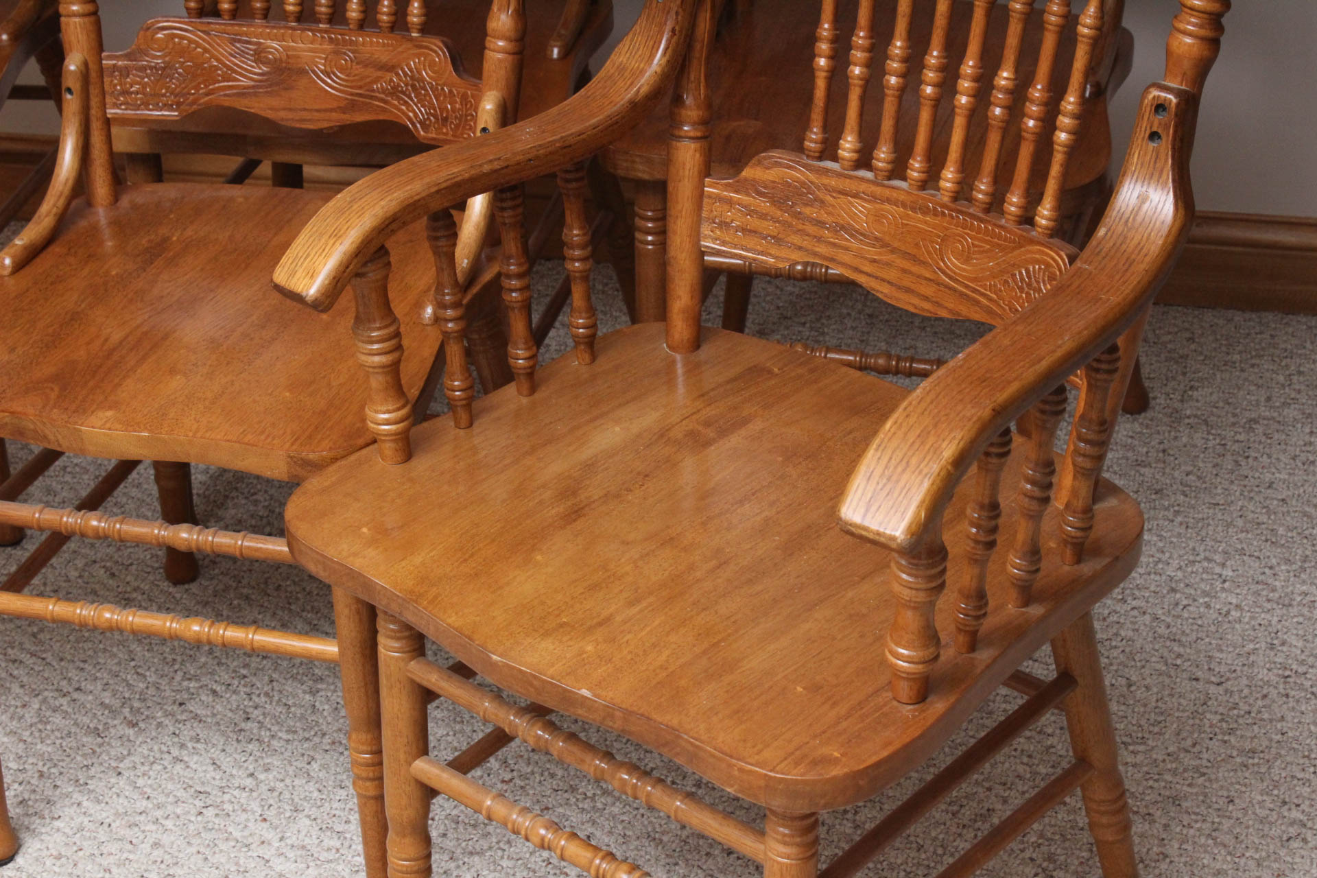 vintage oak dining chairs plastic clear chair six room ebth