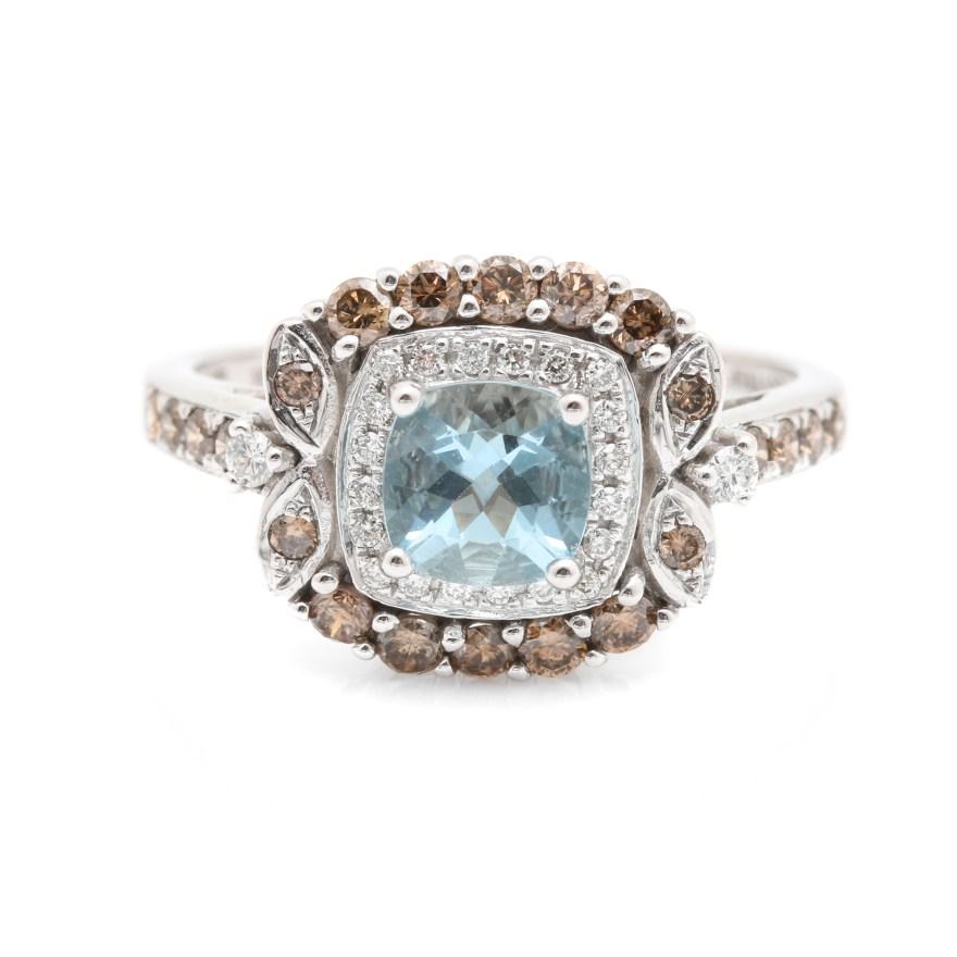 Le Vian 14k White Gold Aquamarine And Diamond Ring Ebth