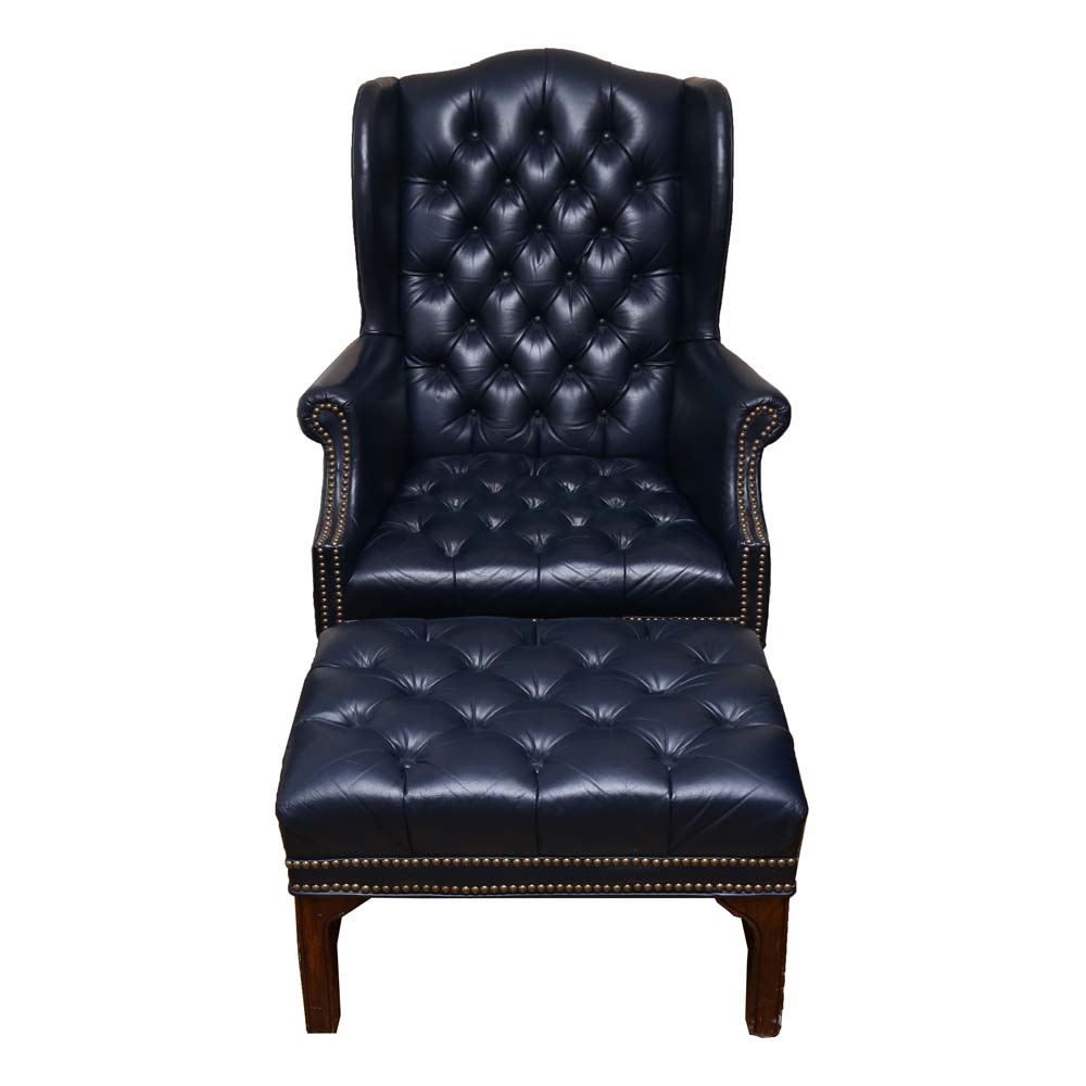tufted chair and ottoman cane supplies chippendale style chesterfield leather wingback ebth