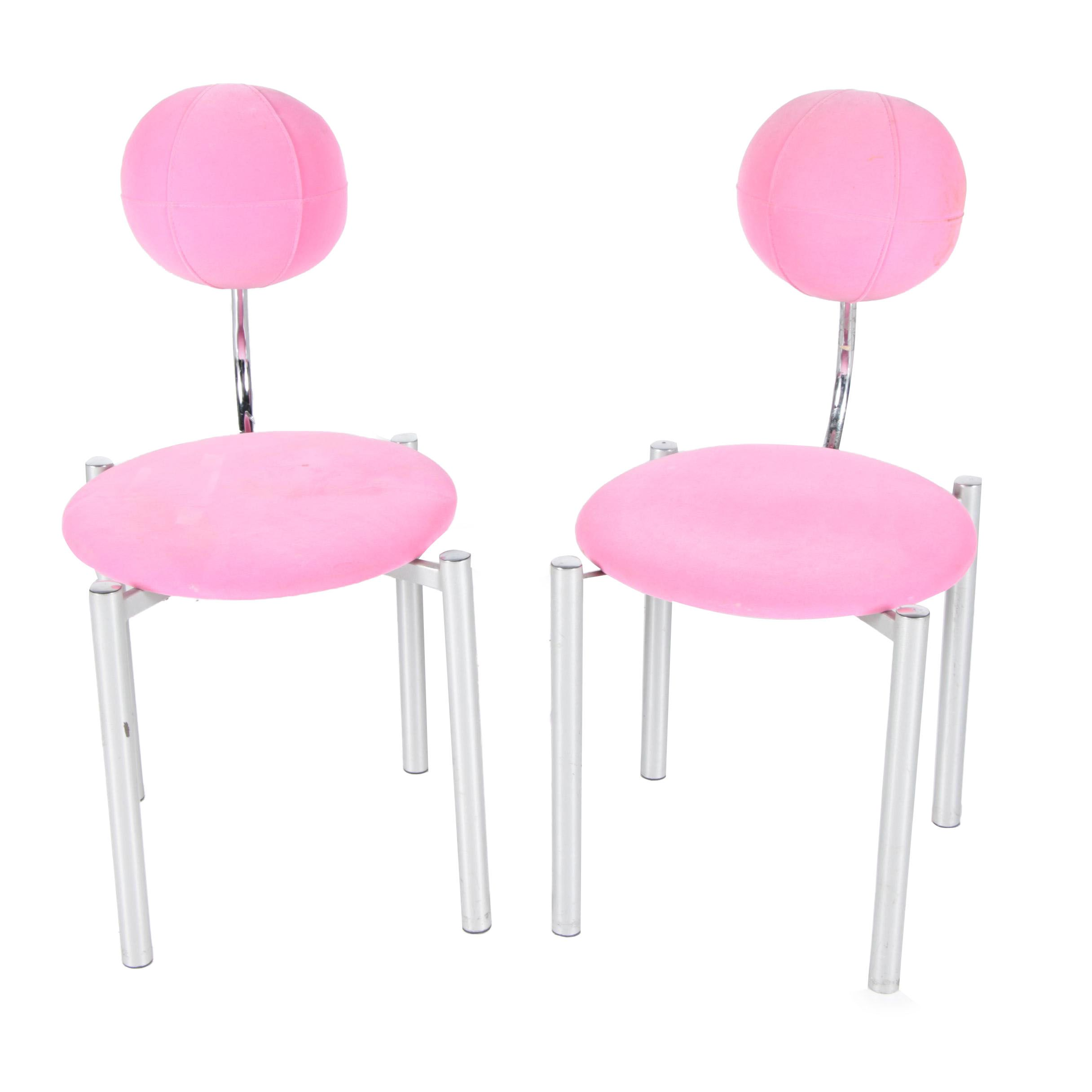 pink vanity chair risom lounge upholstered chairs ebth
