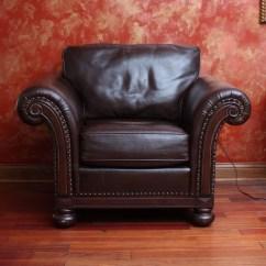 Bernhardt Brown Leather Club Chair Bar Stool Rung Protectors Armchair By Ebth