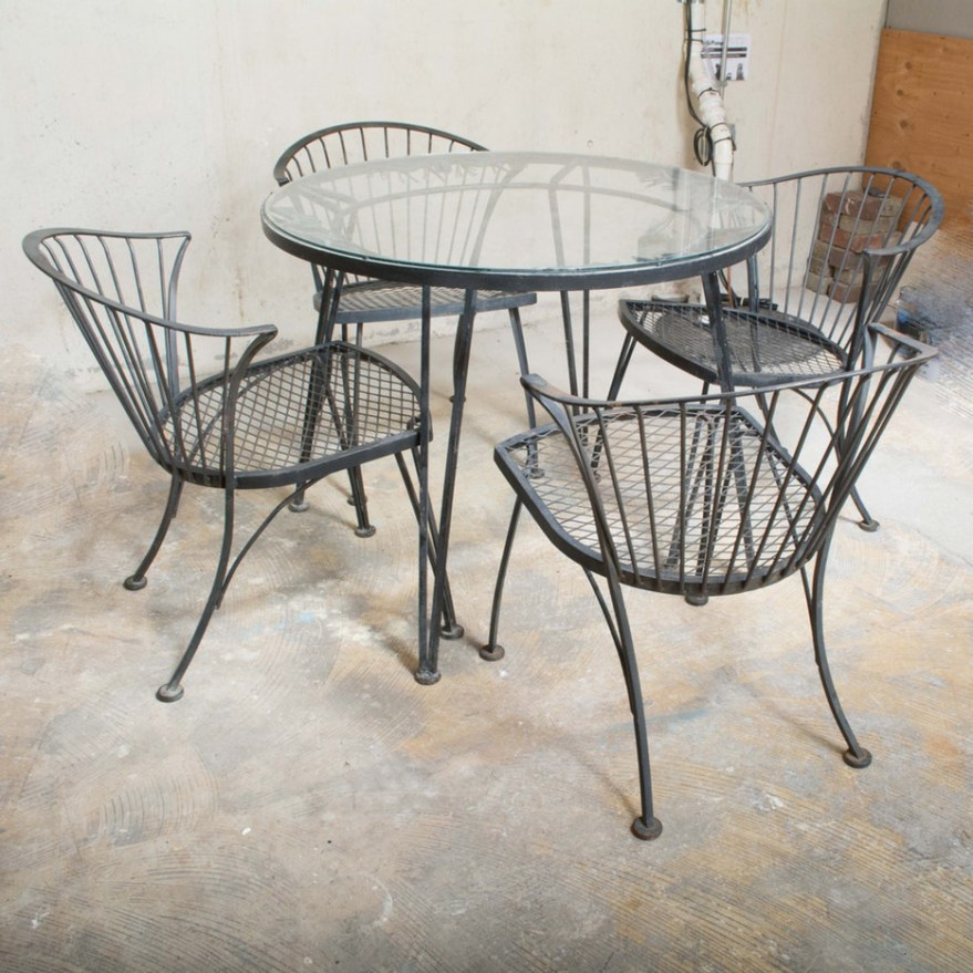 Glass Top Wrought Iron Patio Table With Chairs Ebth