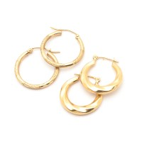 10K and 14K Yellow Gold Hoop Earring Collection : EBTH