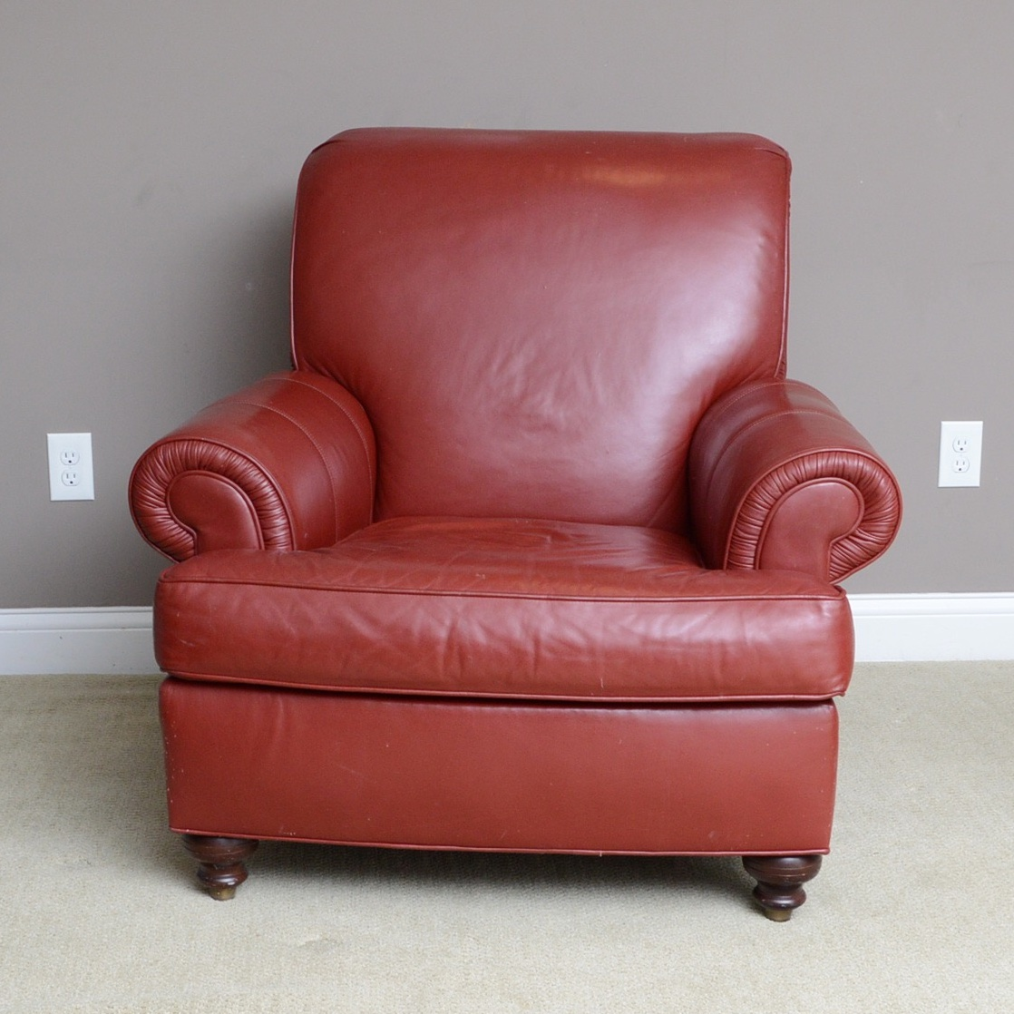 ethan allen leather chair time out chairs for toddlers red club ebth