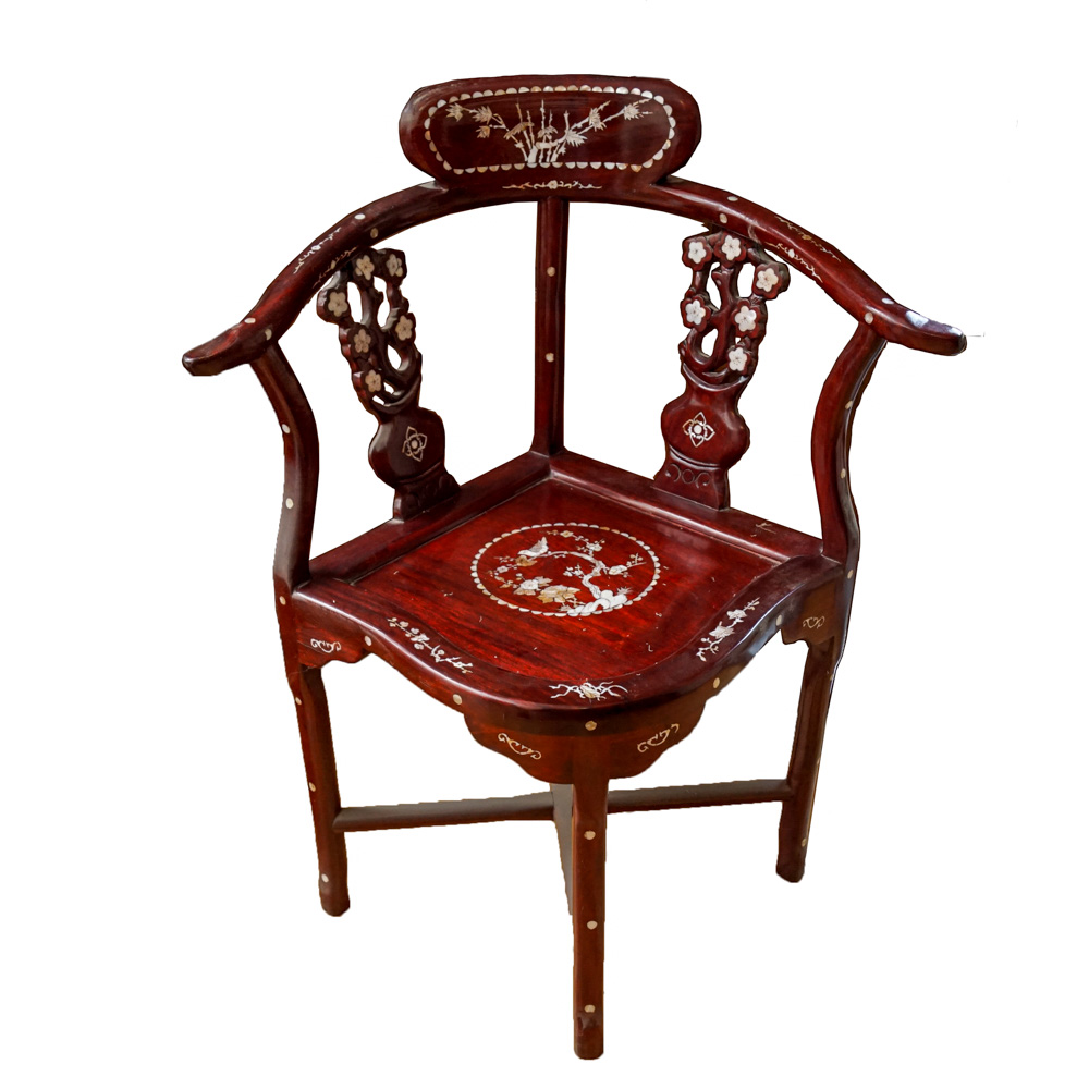 wooden corner chair covers with attached sash chinese rosewood and inlaid mother of pearl ebth