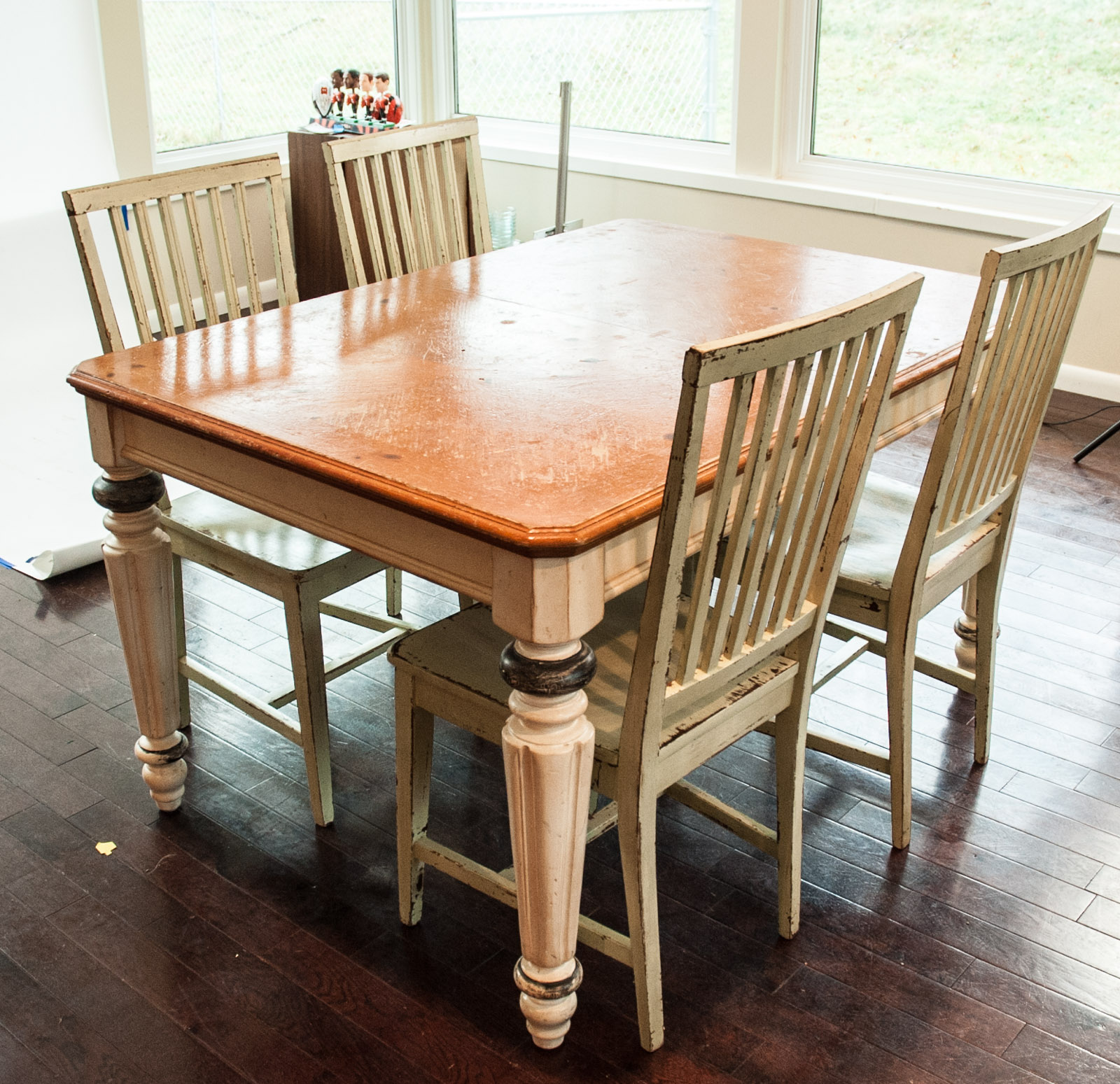 rustic farm table and chairs wicker hammock chair with stand set ebth