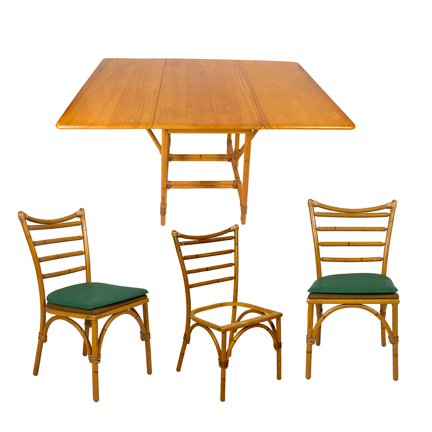 heywood wakefield wicker chairs stokke high chair singapore vintage drop leaf rattan table and ebth