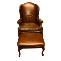 Queen Anne Style Brown Leather Wingback Chair and Ottoman