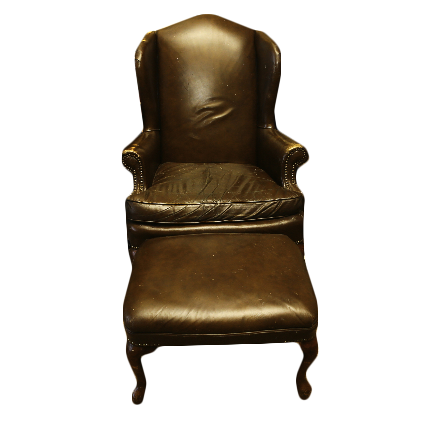 queen anne wingback chair leather crushed velvet chairs dining style brown and ottoman ebth