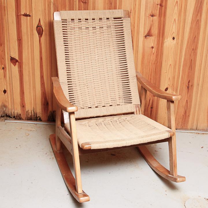 hans wegner rocking chair black leather wingback danish modern after ebth