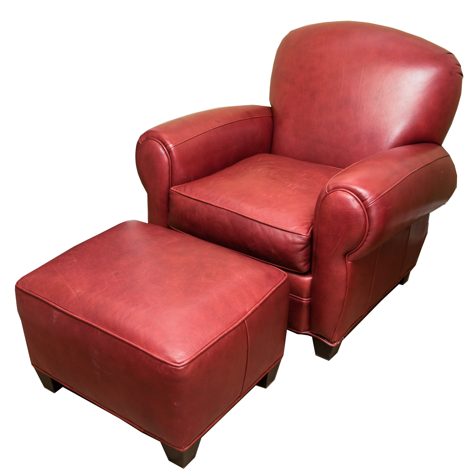 red leather chair and ottoman rocking dildo by arhaus furniture ebth