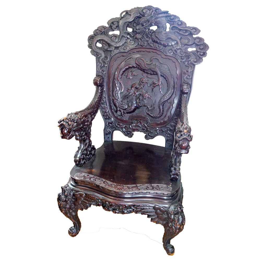 antique chinese dragon chair slipcovers walmart export carved ebth