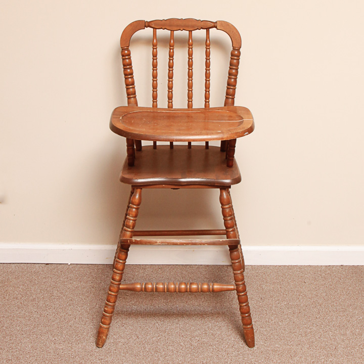 vintage wood high chair cheap covers and sashes for weddings wooden ebth
