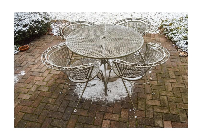 vintage mid century modern metal patio set with umbrella