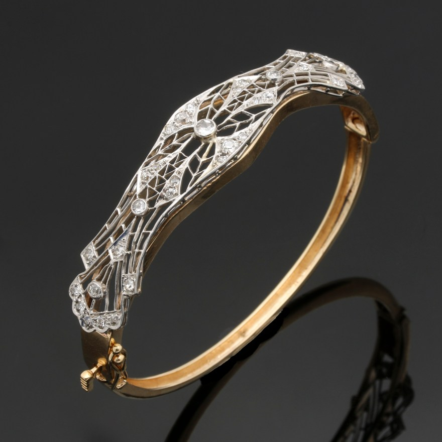 10k Yellow Gold And Platinum Diamond Filigree Bangle Bracelet Ebth