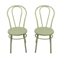 Green Metal Bistro Chairs Ergonomic Office Chair Japan Two Ebth