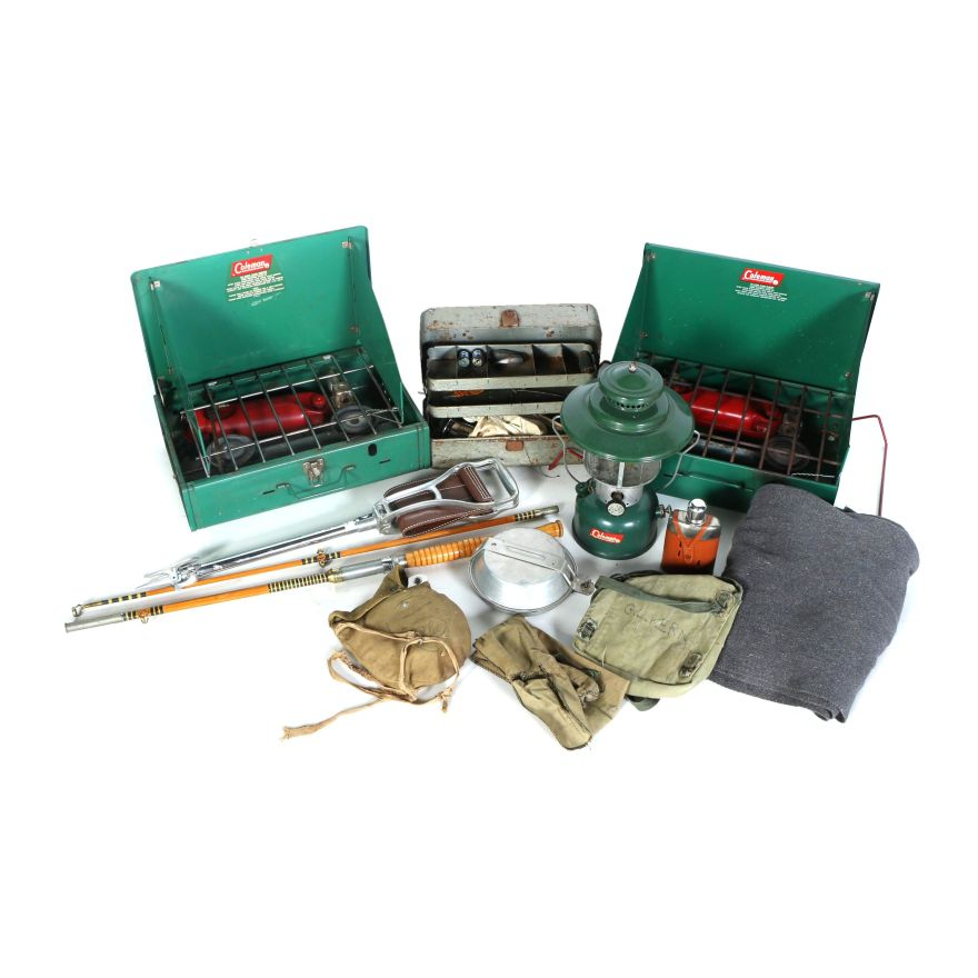 Vintage Fishing And Camping Equipment Featuring Coleman Ebth