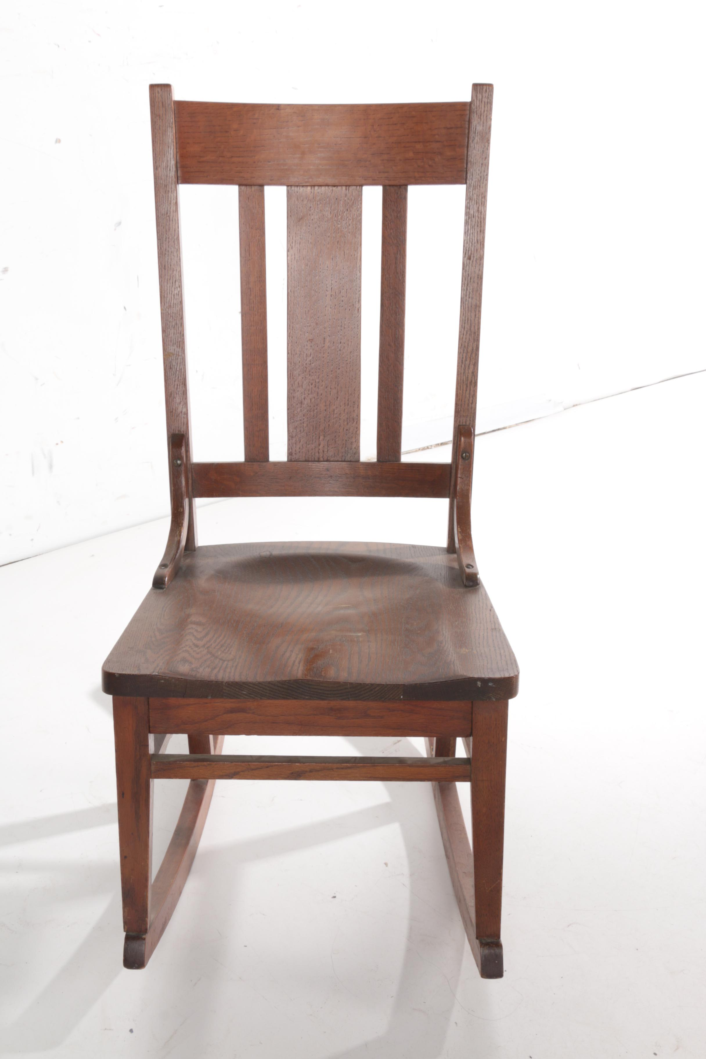 arts and crafts style chair kids lounge chairs vintage oak rocking ebth