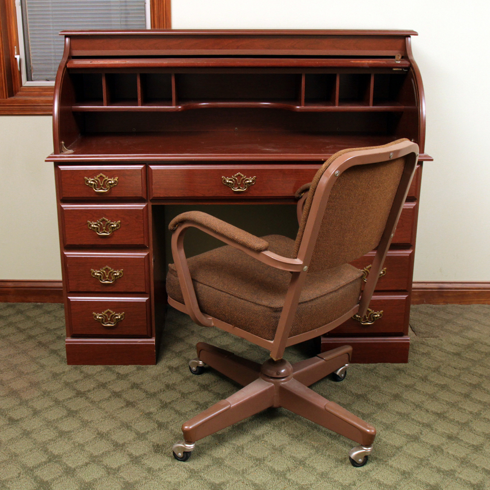 Cherry Finished RollTop Desk with Vintage Office Chair EBTH