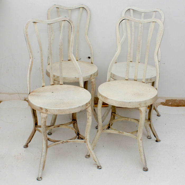 metal bistro chairs stool chair for bar white painted ebth