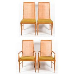 Dining Chairs With Caning Red Leather Bean Bag Chair Four Mid Century Modern Cane Back Walnut By Lane Ebth