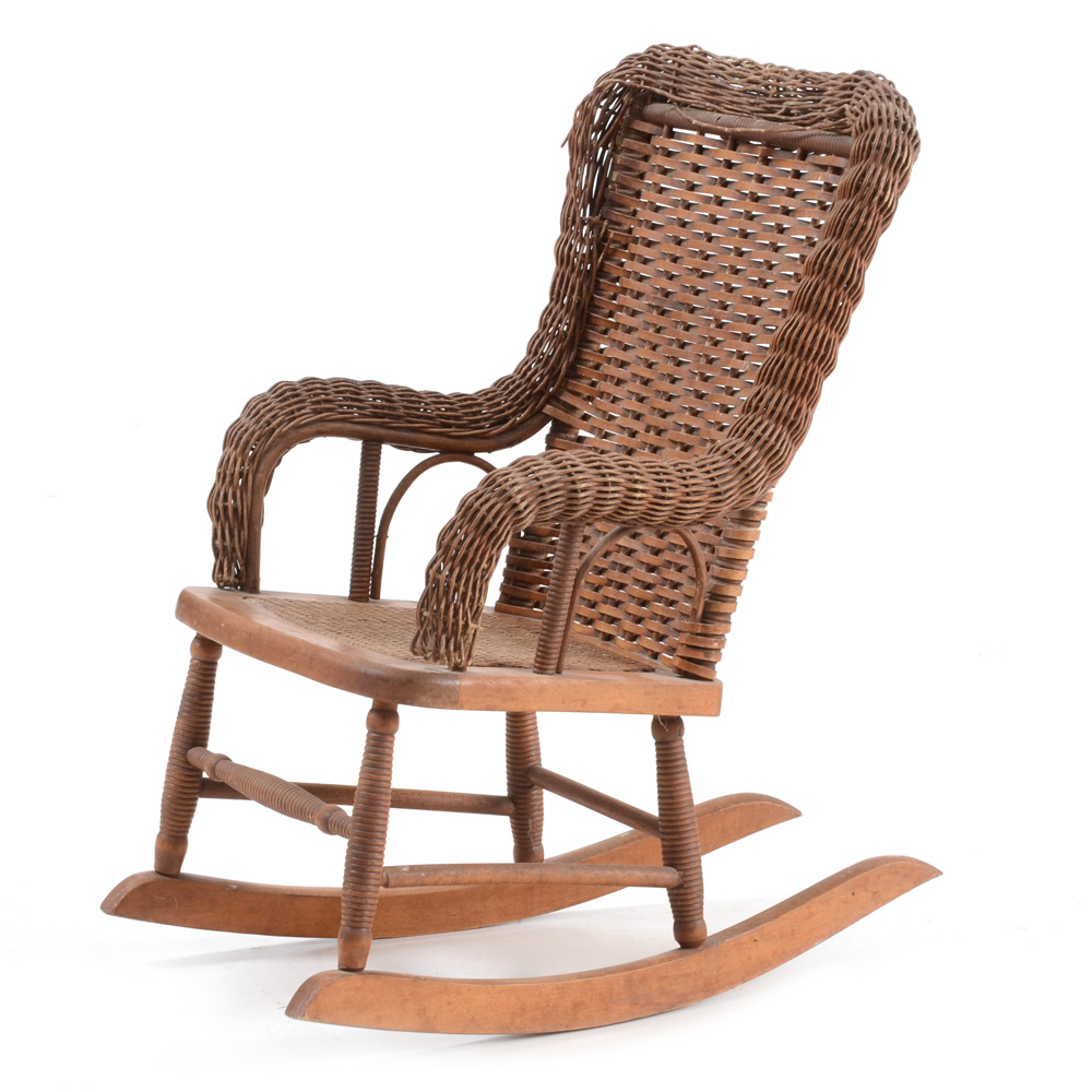 wicker rocking chairs patio chair and ottoman child s ebth