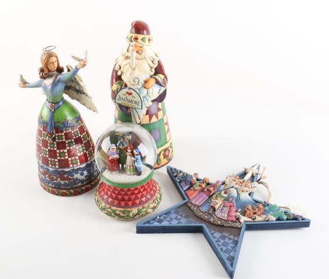 Jim Shore Christmas Decor Including Ornament And Snow Globe