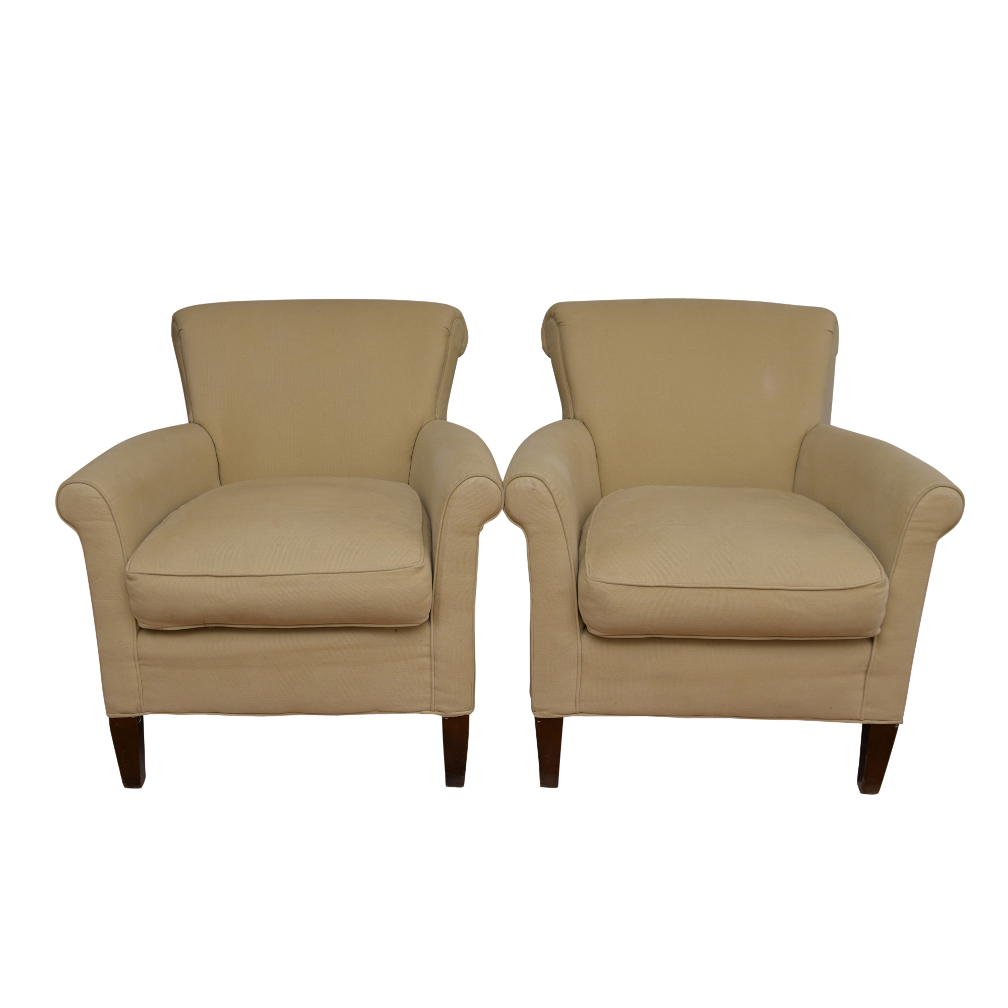 pembrook chair corp cosco high model 03354 beige upholstered armchairs by the ebth