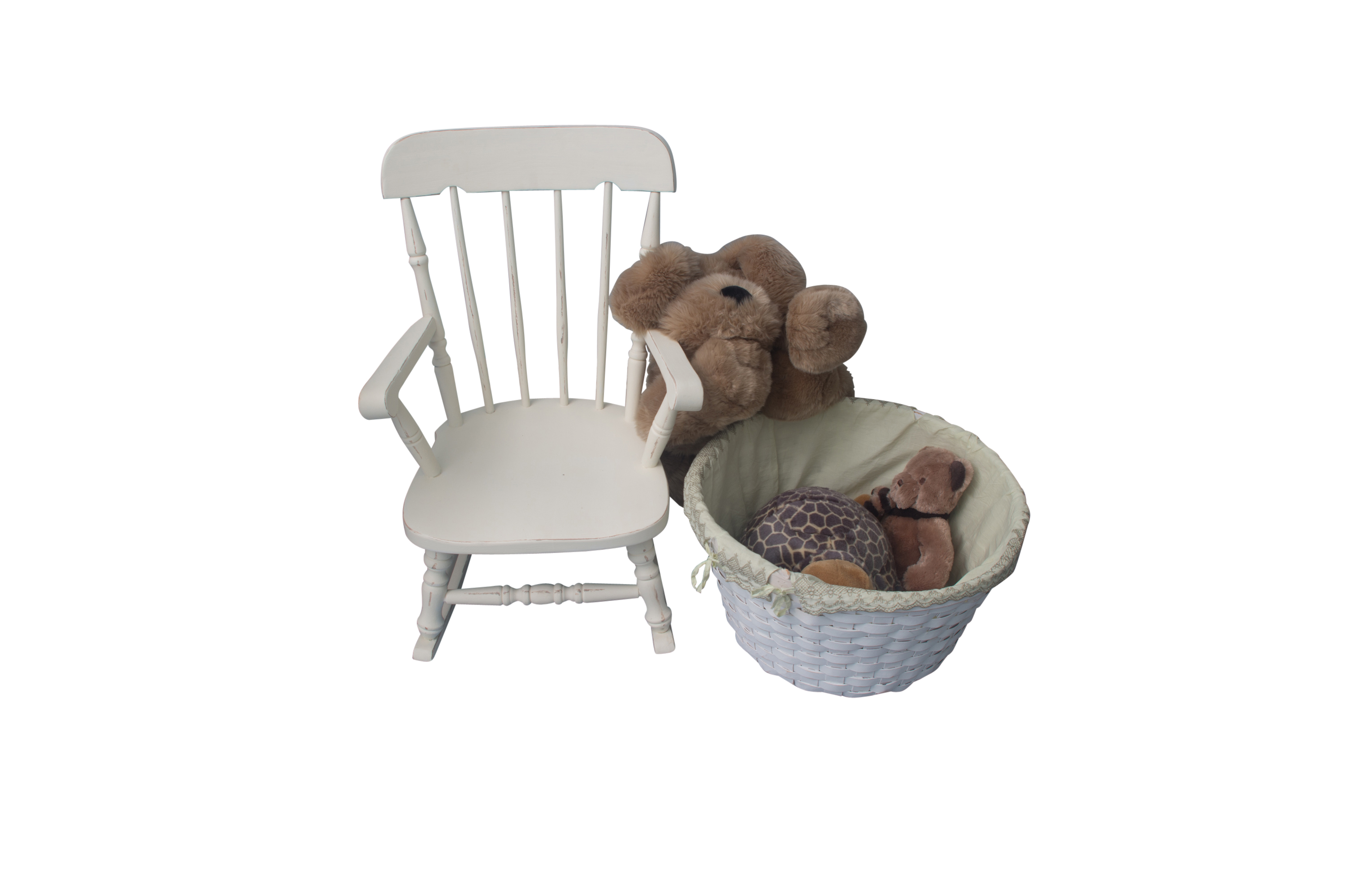 plush animal rocking chairs metal bistro outdoor child s chair with wicker basket and animals ebth