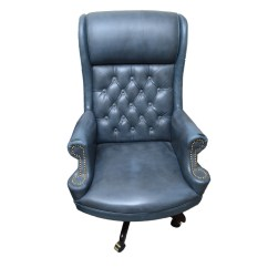 Blue Leather Office Chair Swivel John Lewis Vintage Faux Ebth