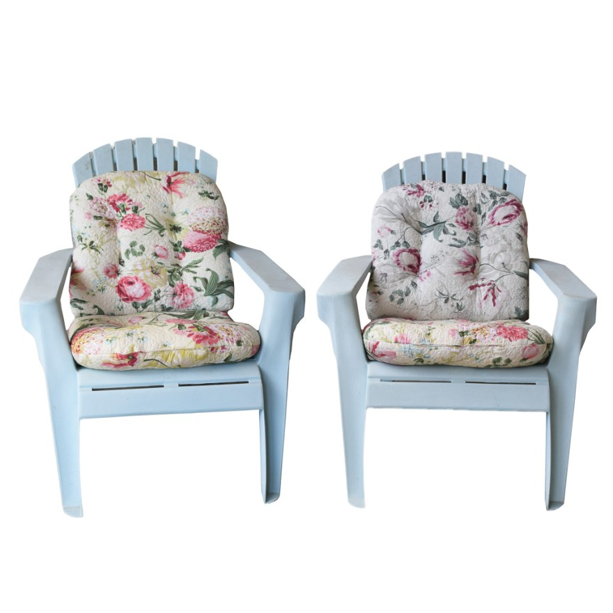 Pair Of Adirondack Style Plastic Patio Chairs With Floral