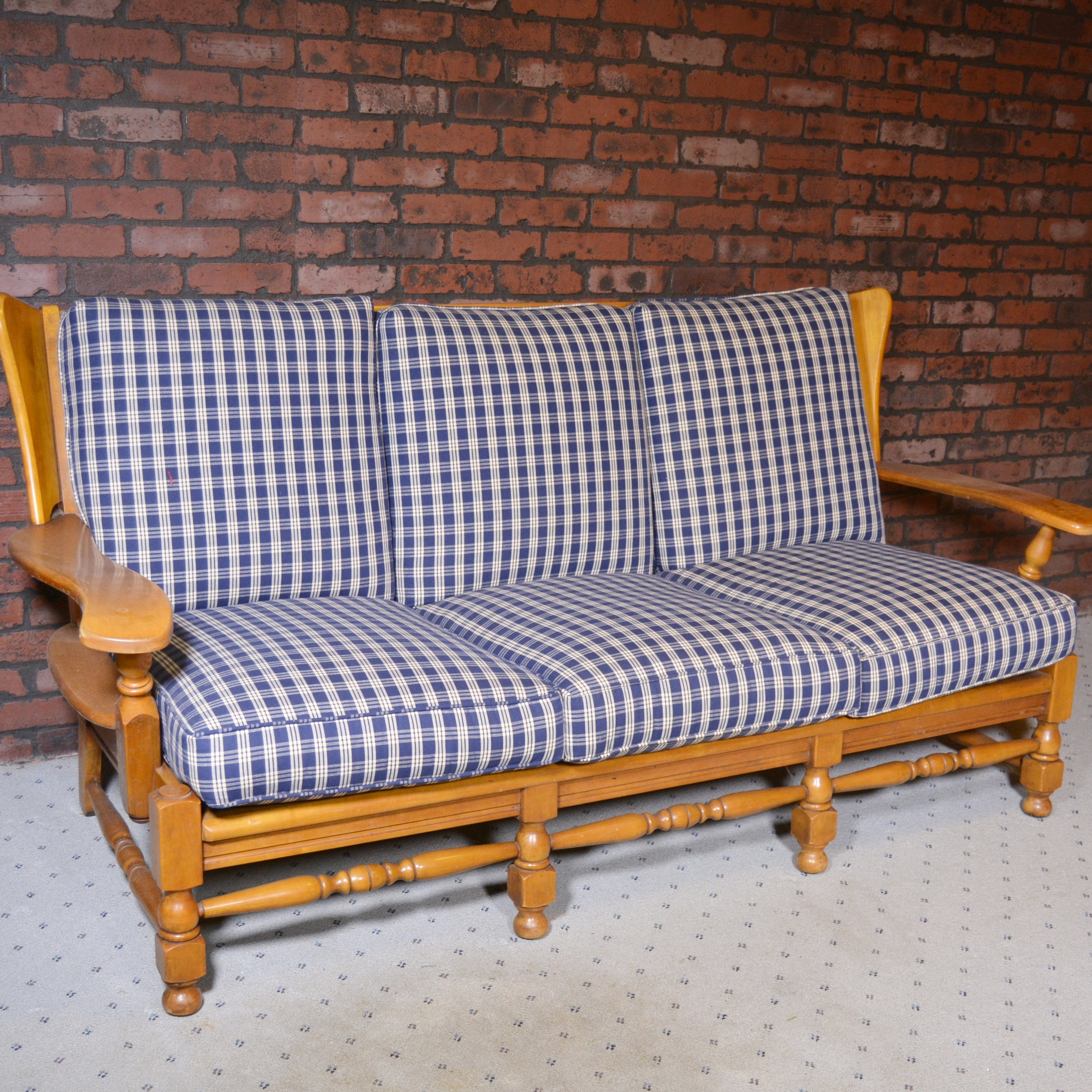 colonial wingback sofas vintage parlor sofa maple with removable plaid cushions ebth