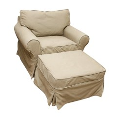 White Slipcover Chair And Ottoman Cover Rentals Portland Oregon Oversized With Pottery Barn Slipcovers Ebth