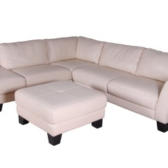 White Leather Sectional Sofa With Ottoman Sharon Corner Grey And Black Fabric Chenille By Chateau D Ax Ebth